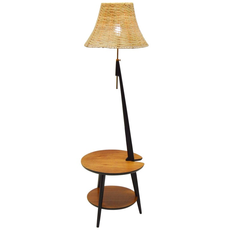 1960's Teak Floor Lamp with Integrated Side Table