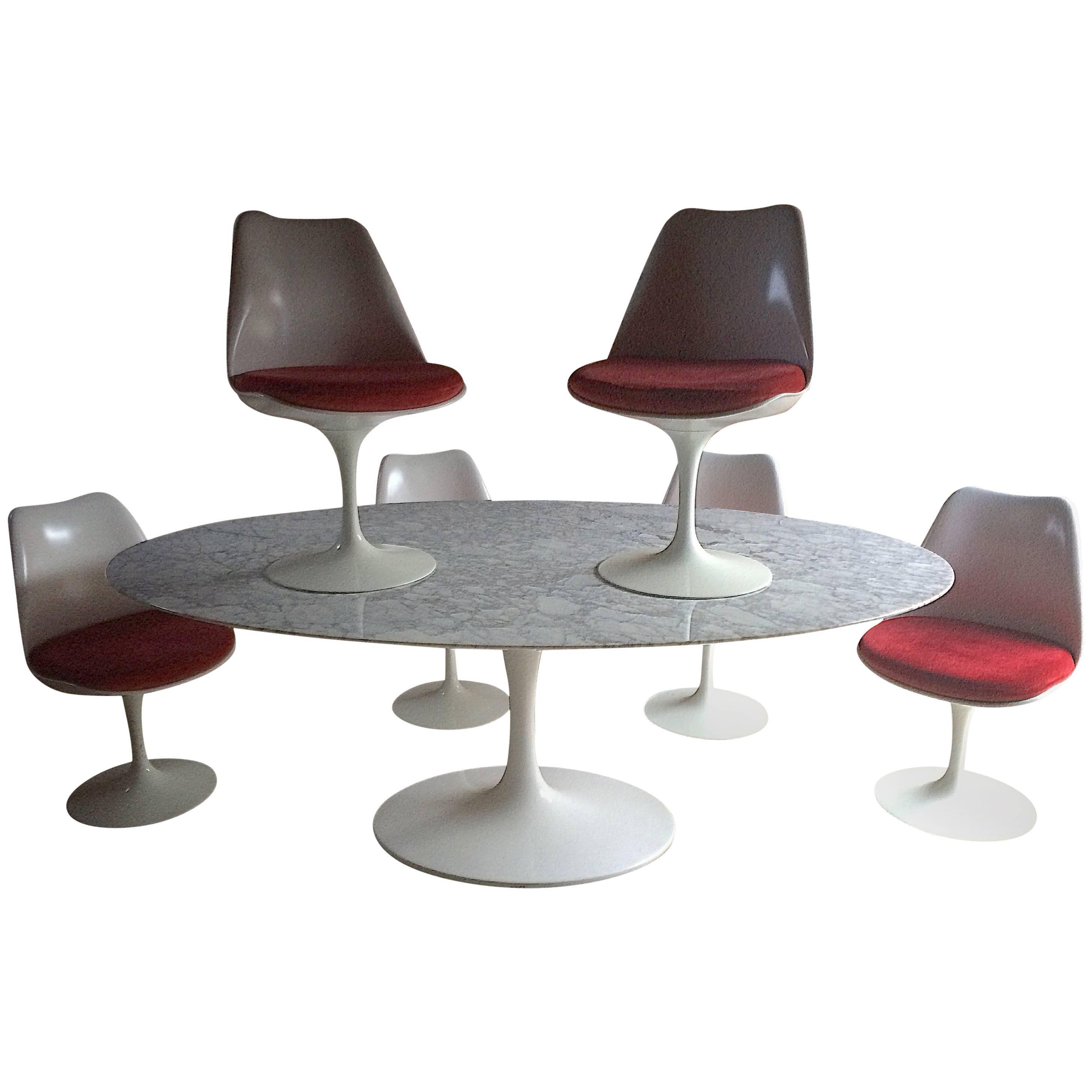 Eero Saarinen Oval Marble Dining Tulip Table Six Tulip Chairs