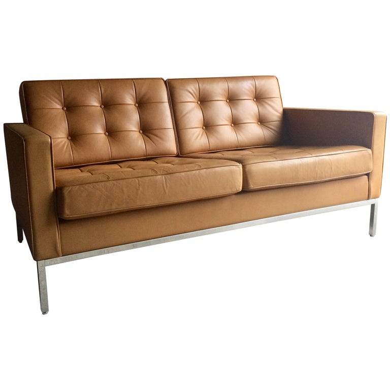Original Knoll Studio Two-Seat Leather Sofa Settee by Florence Knoll 1