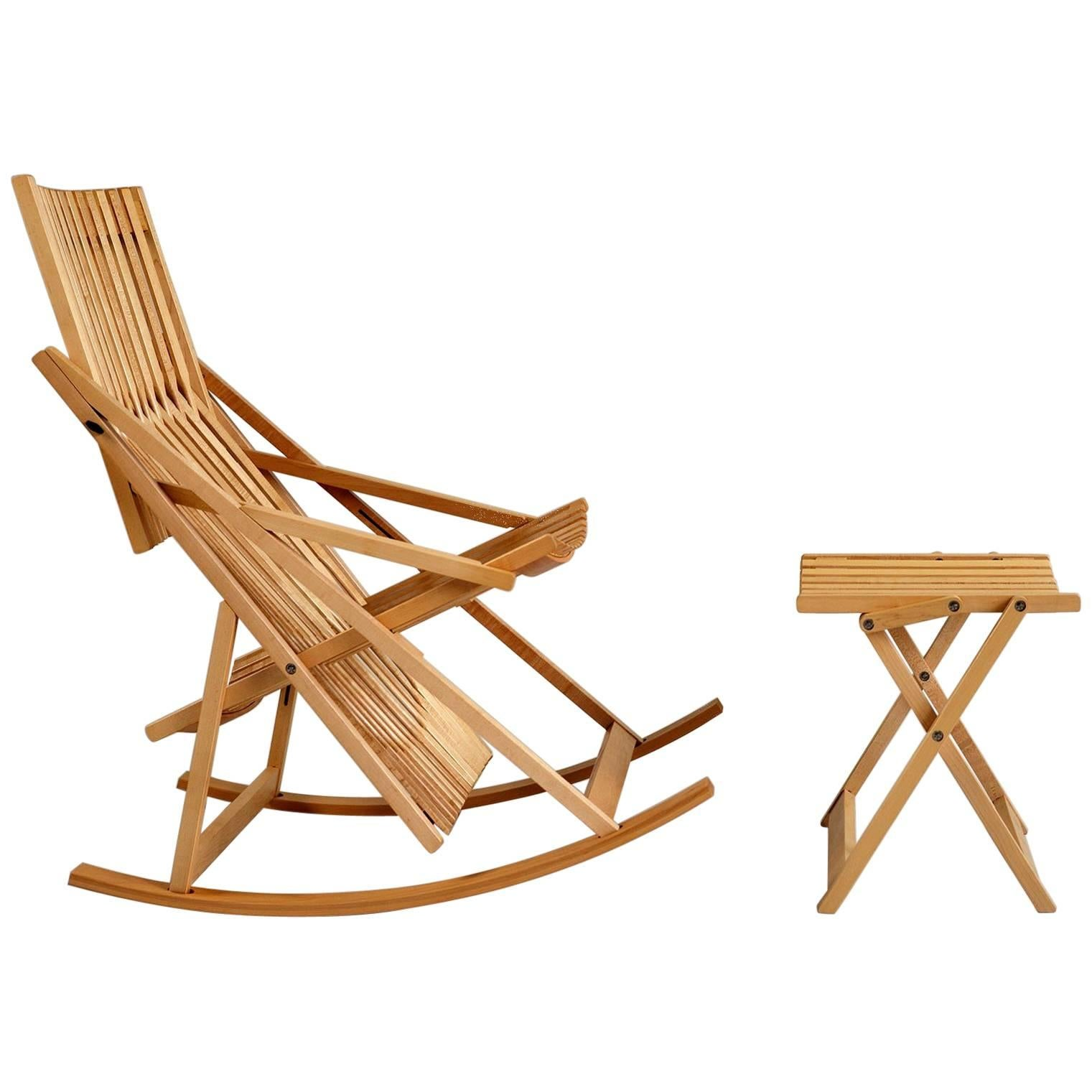 Jean-Claude Duboys, A1 Rocking Chair and Ottoman A4, France, 1980