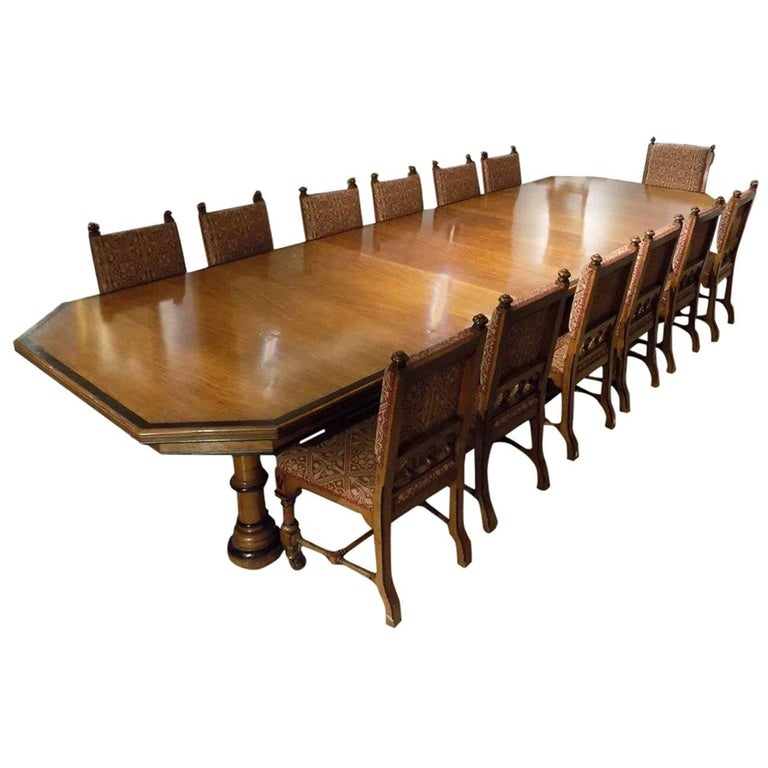 Fantastic Pollard Oak And Ebony Dining Room Table With 14 Matching Chairs 1870 1