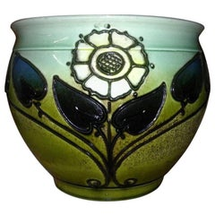 Wardle, an Arts & Crafts Planter with Tube Line Decoration of Stylised Flowers