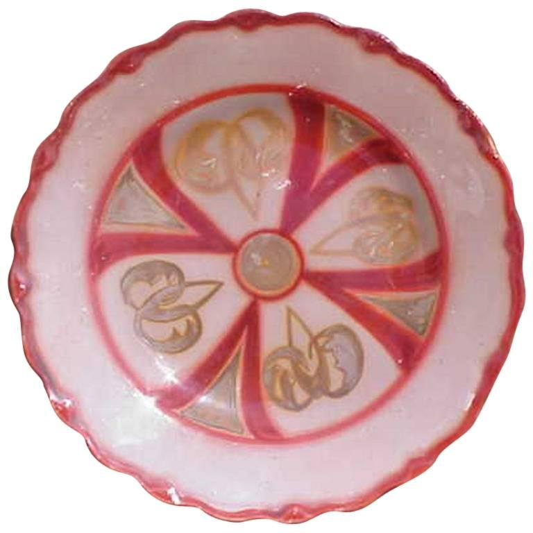 Arts & Crafts Hand Painted Decorative Lustre Plate by W H Grindley For Sale