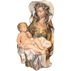 S XX Madonna with Child, Polychromatic Biscuit, Manufacture LLadro, Spain