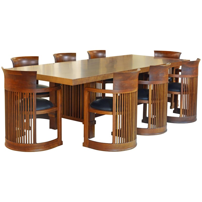 Frank Lloyd Wright Inspired Cherrywood Dining Table & Eight Chairs with Leather For Sale