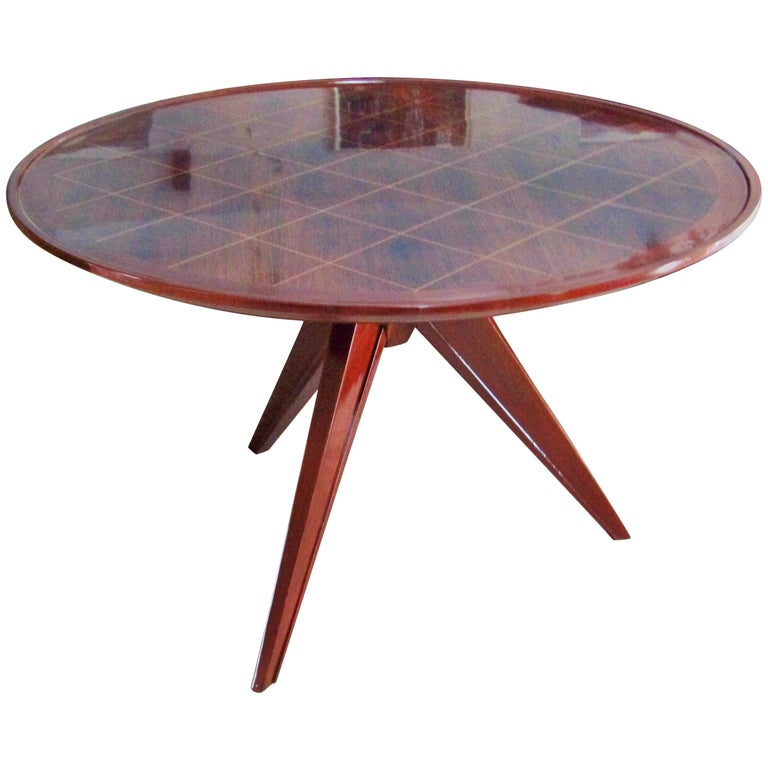 Midcentury Art Deco Rosewood Coffee Table, France, 1940s For Sale
