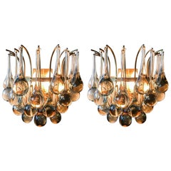 Pair of Christoph Palme 'Plawa' Tear Drop Crystal Glass and Gilt Brass Scones