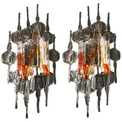 Large Brutalist Wall Sconces by Tom Ahlström & Hans Ehrlich, Sweden, 1960s