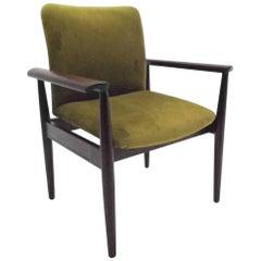 Danish Finn Juhl Mahogany & Green Velvet Desk Armchair Midcentury Chair, 1960s