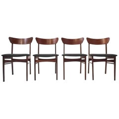 Danish Set of Four Teak & Charcoal Grey Fabric Dining Chairs Midcentury Chair