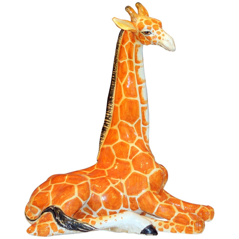 Huge Vintage Bellini Italian Pottery Giraffe Figure April