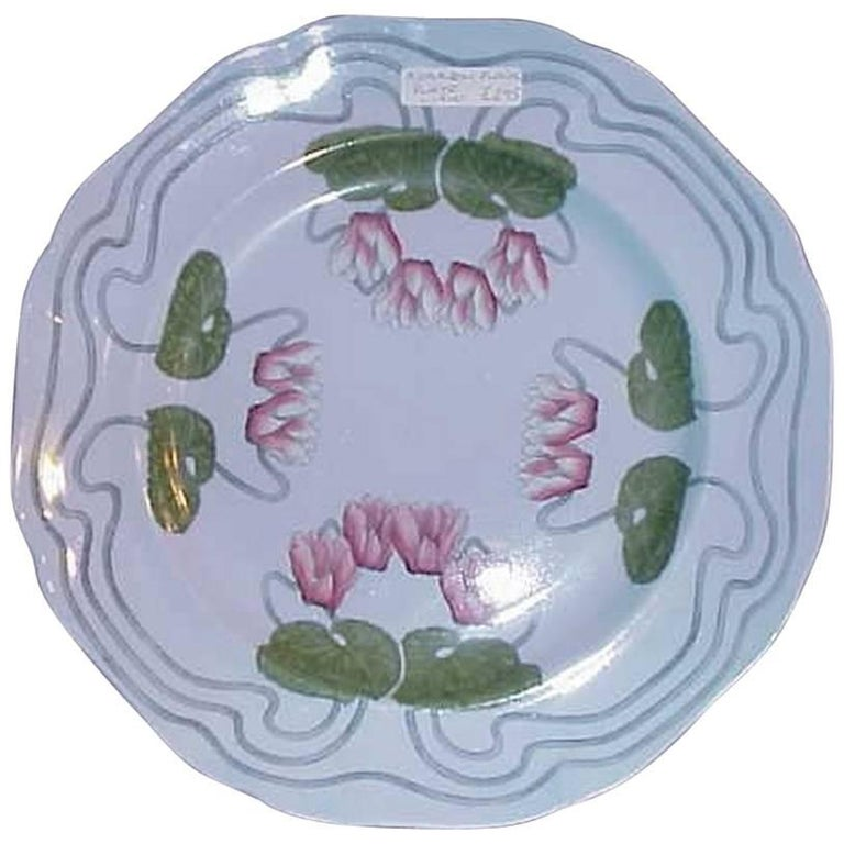 Art Nouveau Plate with Stylised Floral Hand-Painted Decoration by Cauldon For Sale