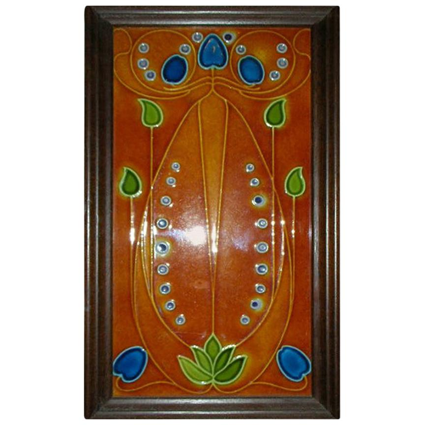 Large Arts & Crafts Tube Lined Tile Depicting Stylised Flowers in Rich Colors