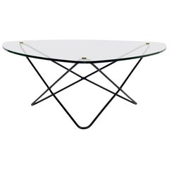 French 1950s Glass and Metal Coffee Table by Florent Lasbleiz for Airborne