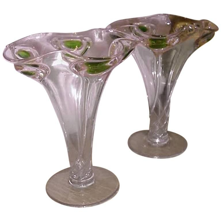 Pair of arts and crafts glass peacock vases with swirl for Arts and crafts glass