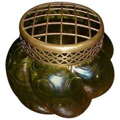 Loetz, Attributed a Green Swirl Glass Flower Holder with Decorative Brass Top