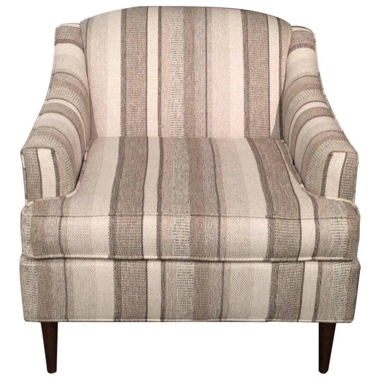 Restored Striped Mid-Century Modern Easy Chair