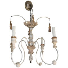 Italian Wooden Altar Elements Spider Chandelier with Iron Arms