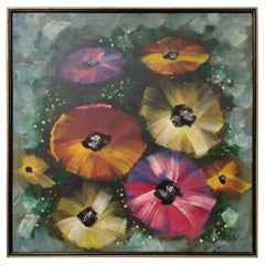 Midcentury Abstract Art on Canvas Depicting Pansies