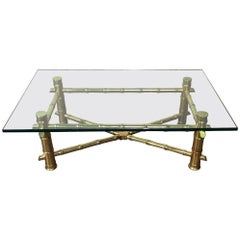 Midcentury Gold Gilt Faux Bamboo and Glass Coffee Table