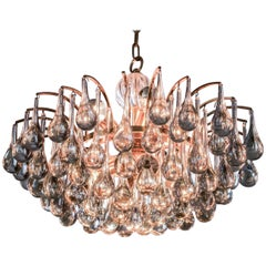 Grand Midcentury Crystal Tear Drop Glass Chandelier by Christoph Palme