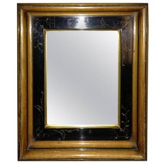 Aesthetic Movement Oak Mirror, with Scribed Floral Detail in a Walnut Frame