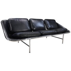 George Nelson for Herman Miller Sling Sofa in Black Leather
