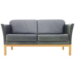 Danish Modern Two-Seat Leather Sofa