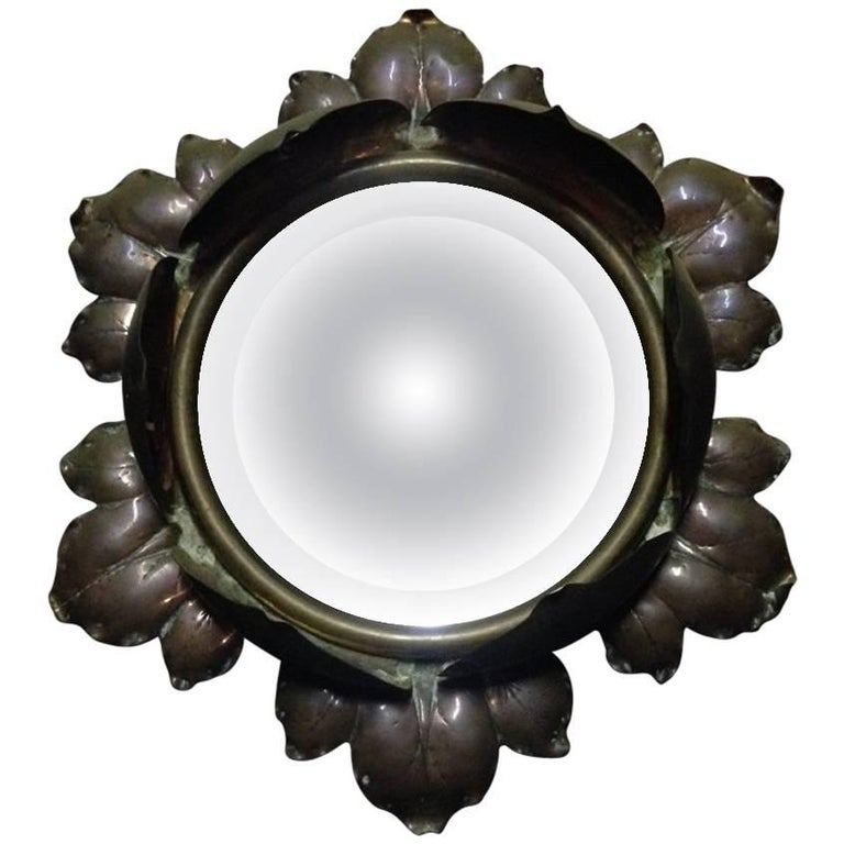 Arts & Crafts Circular Copper and Bevelled Mirror in the Form of a Flower Bud
