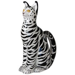 1960s Italian Black White Art Pottery Majolica Cat Figure Mancioli Raymor