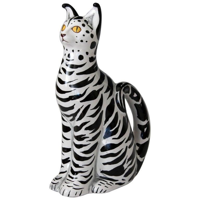 1960s Italian Black White Art Pottery Majolica Cat Figure Mancioli Raymor