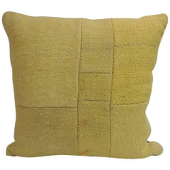 Vintage Bright Yellow Color Kilim Decorative Pillow with Modern Patchwork Design