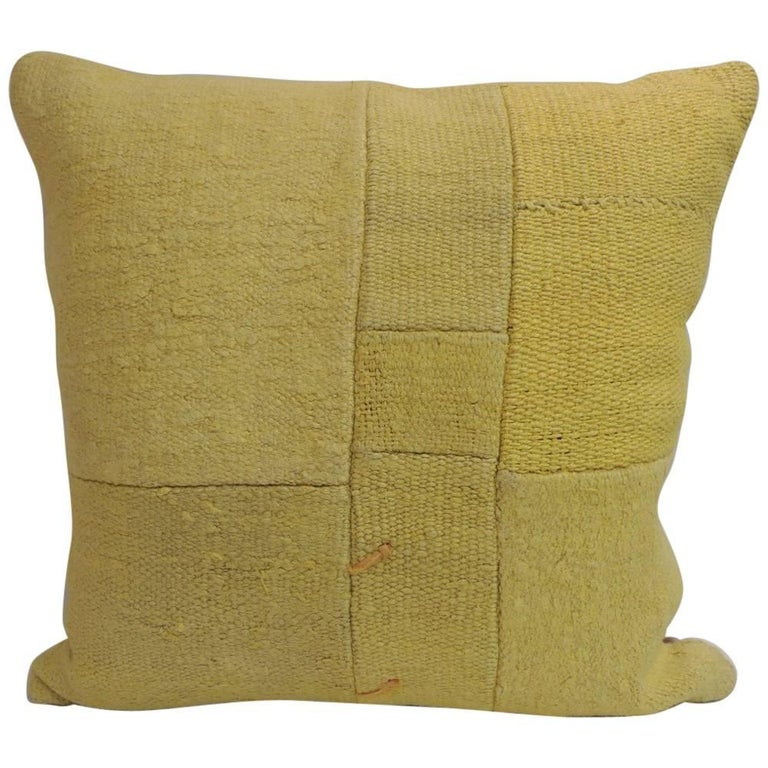Modern Kilim Pillows : Vintage Bright Yellow Color Kilim Decorative Pillow with Modern Patchwork Design at 1stdibs