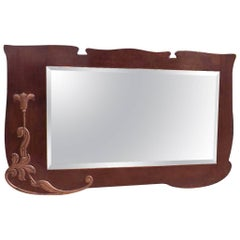 Arts & Crafts Shaped Oak Bevelled Mirror with Stylised Floral Copper Details