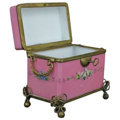 French Late 19th Century Painted Opaline Glass Box
