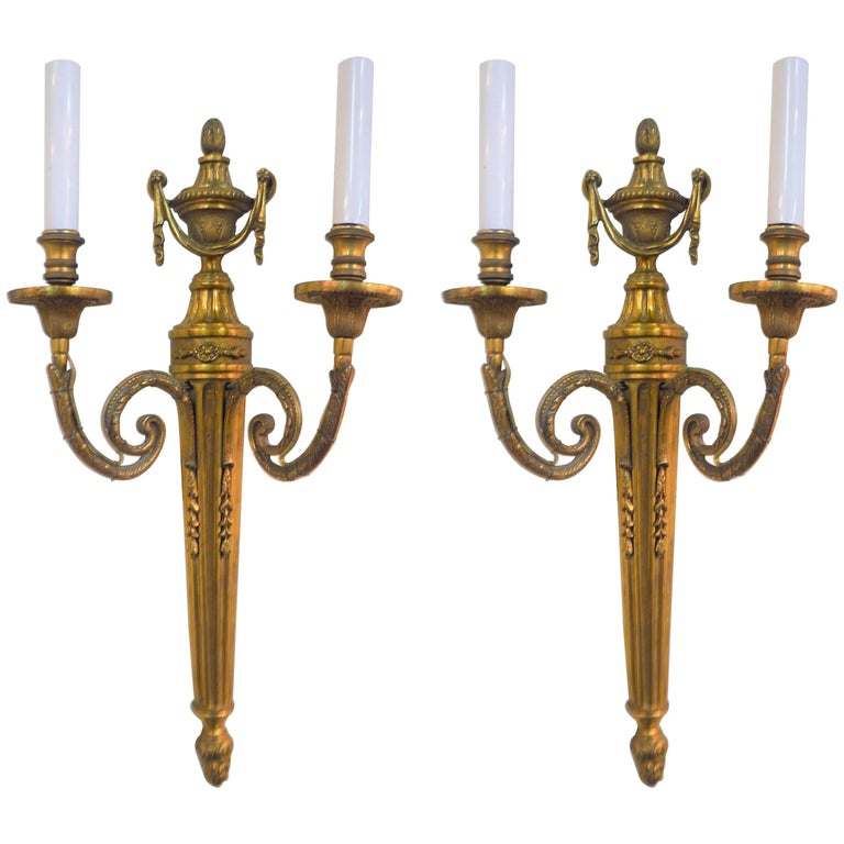 19th Century Pair of Empire Style Bronze Two-Light Sconces