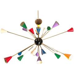 Original Stilnovo Multi-Color Sputnik Chandelier Midcentury