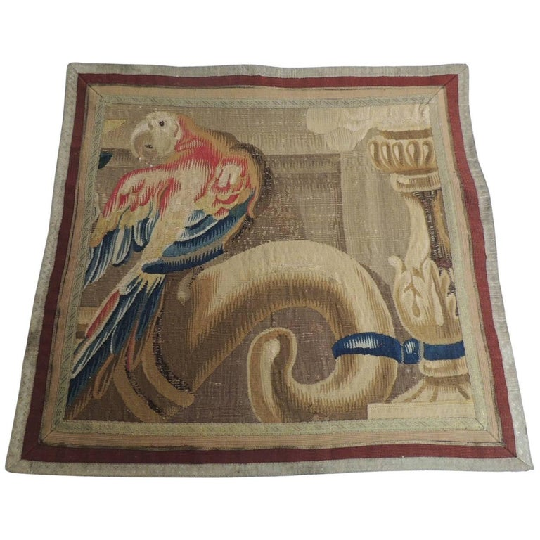 19th Century Aubusson Tapestry Panel Framed with Antique Metallic Trims