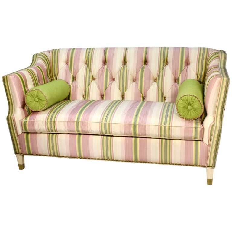 Custom Upholstered Sofa in Striped Silk Fabric by Scalamandre For Sale