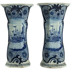 Netherlands Late-18th Century Pair of Delft Vases, circa 1780-1790