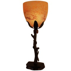 Wrought Iron Table Lamp with Snake Motif and Art Glass Shade