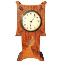Guild of Handicraft Attributed, Arts & Crafts Oak Mantel Clock