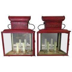 Antique Red Tole Lanterns Sconces Candleholders