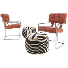 Pair of Italian Leather Tucrome Chairs by Mariani for Pace Collection with Two Z