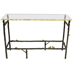 Faux Twig Console Table with Gilt-Bronze Snails and Rusticated Glass Top