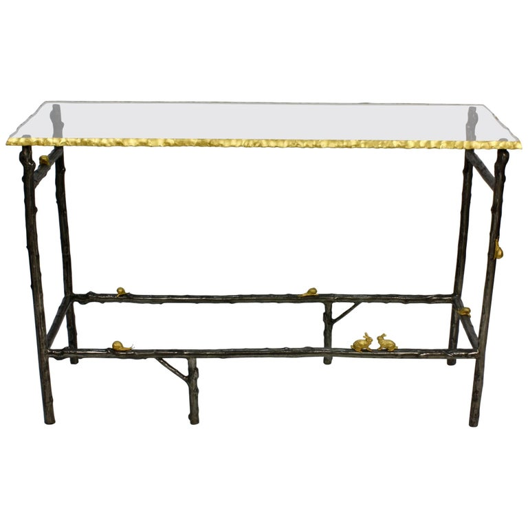 Unusual Faux Twig Console Table with Gilt-Bronze Snails and Rusticated Glass Top For Sale
