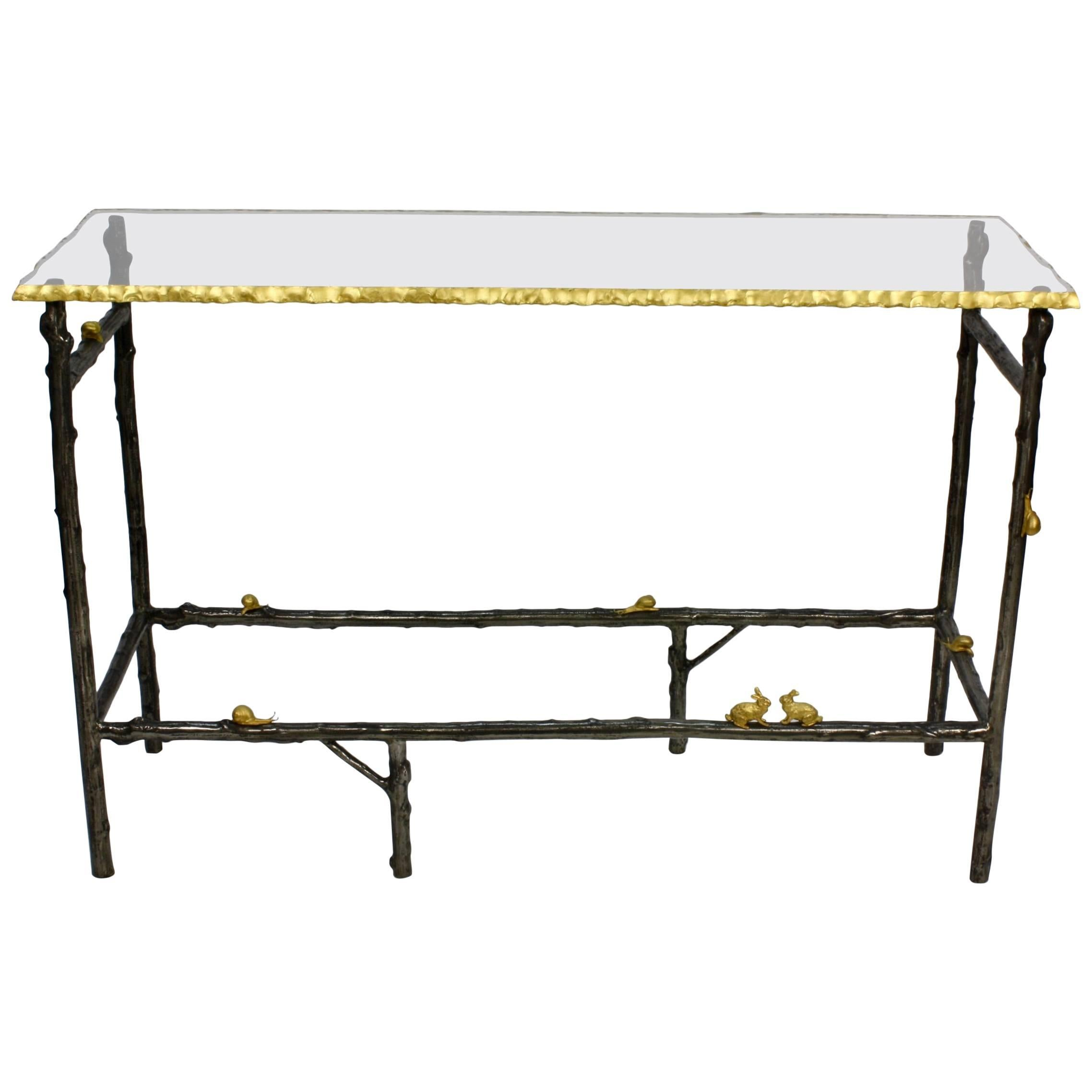 Unusual Faux Twig Console Table With Gilt Bronze Snails And Rusticated  Glass Top For Sale