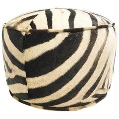 Zebra Hide Pouf Ottoman