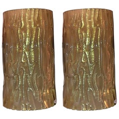 Pair of Venini Brass and Gold Murano glass Italian Sconses 1950.