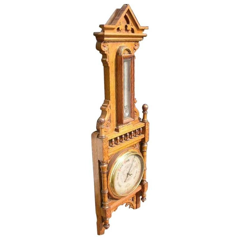 Large Gothic Revival Carved Oak Barometer with a Rare Snail Tail Thermometer
